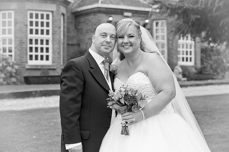 Wedding couple in black and white at Swancar