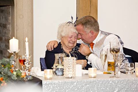 the Brides mother sheds a tear at Swancar wedding