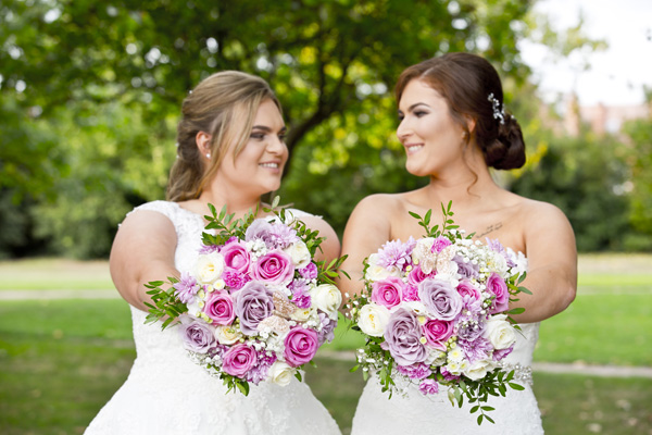 West Bridgford bride and bride with flowers