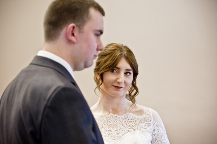 bride looks at groom at west bridgford registry office