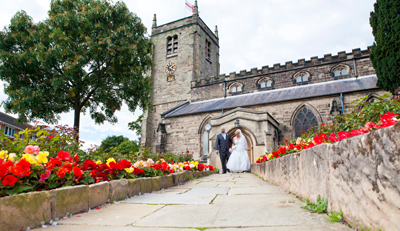 wedding couple leave church