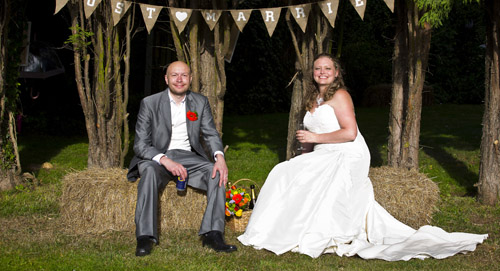 bride and groom at outdoor reception