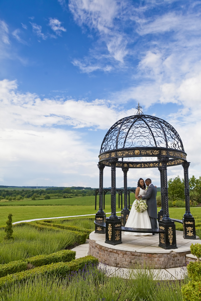 nottingham wedding couple under pergola